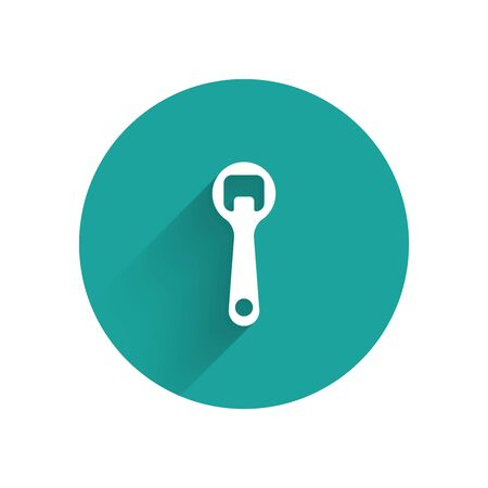 White Bottle opener icon isolated with long shadow. Green circle button. Vector Illustration
