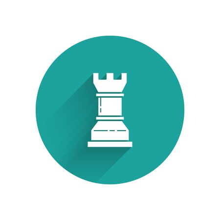 White Business strategy icon isolated with long shadow. Chess symbol. Game, management, finance. Green circle button. Vector Illustration
