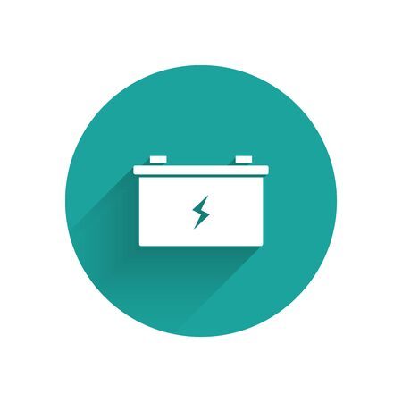 White Car battery icon isolated with long shadow. Accumulator battery energy power and electricity accumulator battery. Green circle button. Vector Illustration Иллюстрация