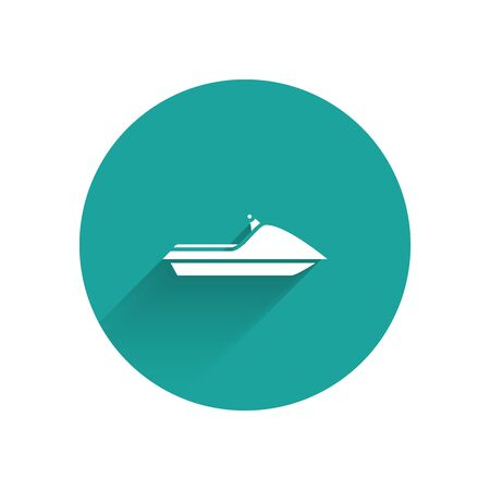 White Jet ski icon isolated with long shadow. Water scooter. Extreme sport. Green circle button. Vector Illustration