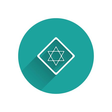 White Star of David icon isolated with long shadow. Jewish religion symbol. Symbol of Israel. Green circle button. Vector Illustration
