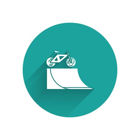 White Bicycle on street ramp icon isolated with long shadow. Skate park. Extreme sport. Sport equipment. Green circle button. Vector Illustration