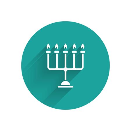 White Hanukkah menorah icon isolated with long shadow. Hanukkah traditional symbol. Holiday religion, jewish festival of Lights. Green circle button. Vector Illustration