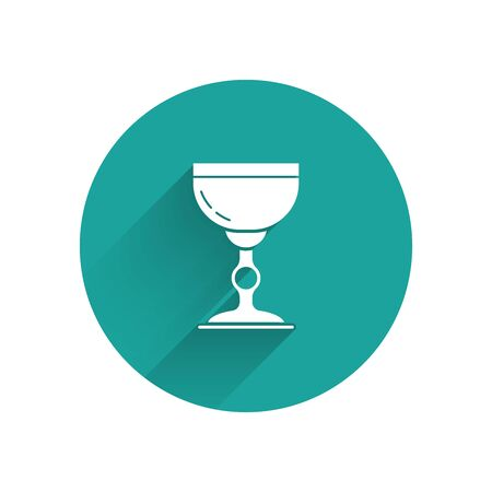 White Jewish goblet icon isolated with long shadow. Jewish wine cup for kiddush. Kiddush cup for Shabbat. Green circle button. Vector Illustration Illustration
