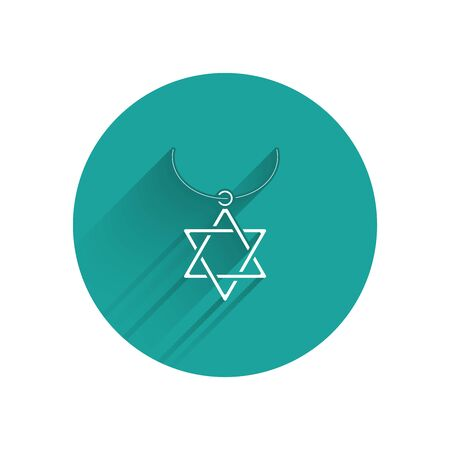 White Star of David necklace on chain icon isolated with long shadow. Jewish religion symbol. Symbol of Israel. Jewellery and accessory. Green circle button. Vector Illustration Illustration