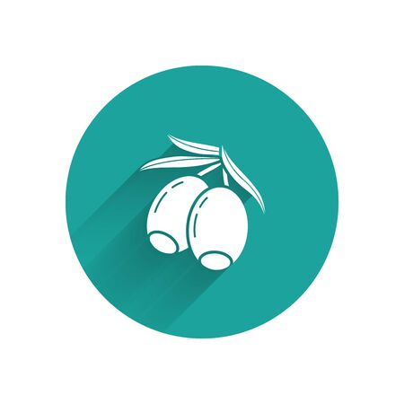 White Olives branch icon isolated with long shadow. Green circle button. Vector Illustration