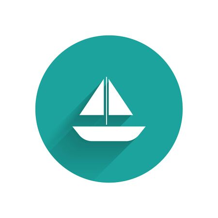 White Yacht sailboat or sailing ship icon isolated with long shadow. Sail boat marine cruise travel. Green circle button. Vector Illustration Иллюстрация