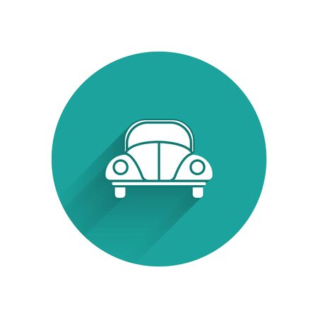 White Car beetle icon isolated with long shadow. Green circle button. Vector Illustration
