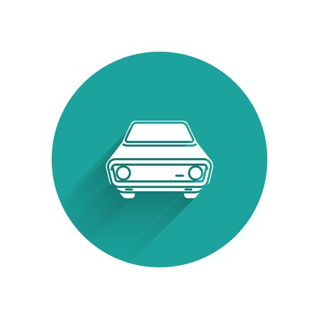 White Car icon isolated with long shadow. Front view. Green circle button. Vector Illustration Иллюстрация