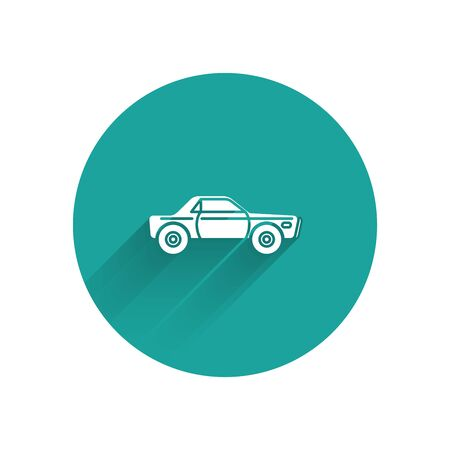 White Sedan car icon isolated with long shadow. Green circle button. Vector Illustration