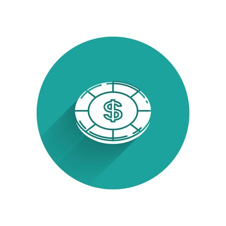 White Casino chip with dollar symbol icon isolated with long shadow. Casino gambling. Green circle button. Vector Illustration