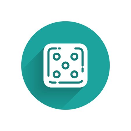 White Game dice icon isolated with long shadow. Casino gambling. Green circle button. Vector Illustration Иллюстрация