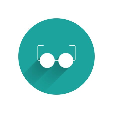 White Glasses icon isolated with long shadow. Eyeglass frame symbol. Green circle button. Vector Illustration