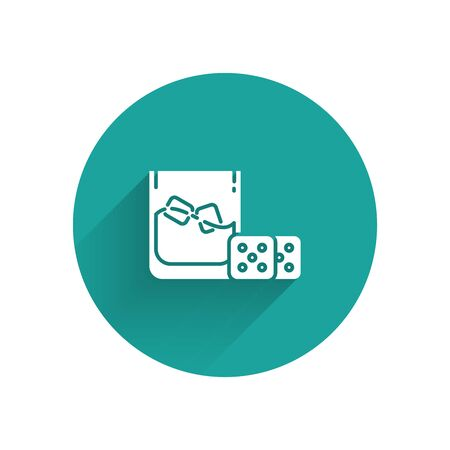 White Game dice and glass of whiskey with ice cubes icon isolated with long shadow. Casino gambling. Green circle button. Vector Illustration  イラスト・ベクター素材