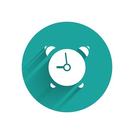 White Alarm clock icon isolated with long shadow. Wake up, get up concept. Time sign. Green circle button. Vector Illustration