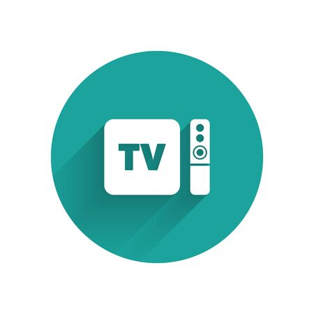 White Multimedia and TV box receiver and player with remote controller icon isolated with long shadow. Green circle button. Vector Illustration Stock Illustratie