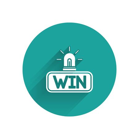 White Casino win icon isolated with long shadow. Green circle button. Vector Illustration