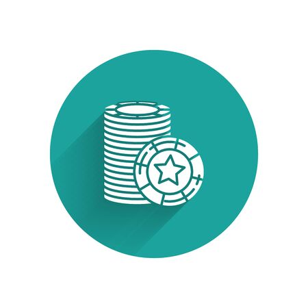 White Casino chips icon isolated with long shadow. Casino gambling. Green circle button. Vector Illustration