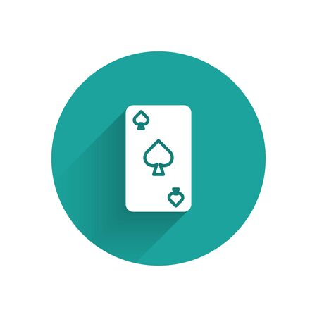White Playing card with spades symbol icon isolated with long shadow. Casino gambling. Green circle button. Vector Illustration