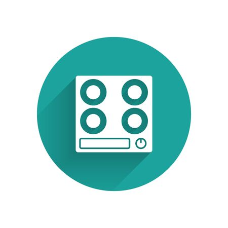 White Gas stove icon isolated with long shadow. Cooktop sign. Hob with four circle burners. Green circle button. Vector Illustration 일러스트