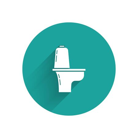 White Toilet bowl icon isolated with long shadow. Green circle button. Vector Illustration