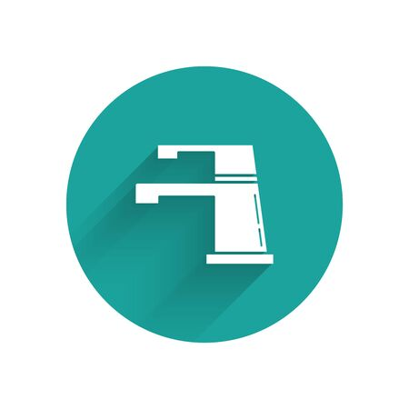 White Water tap icon isolated with long shadow. Green circle button. Vector Illustration  イラスト・ベクター素材