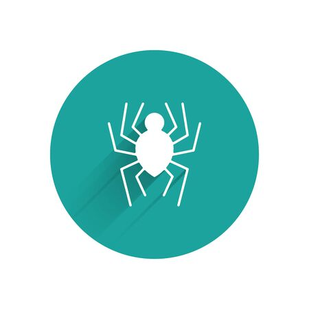White Spider icon isolated with long shadow. Happy Halloween party. Green circle button. Vector Illustration
