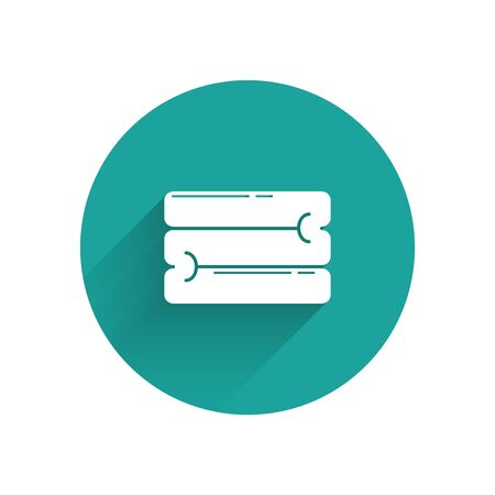 White Towel stack icon isolated with long shadow. Green circle button. Vector Illustration