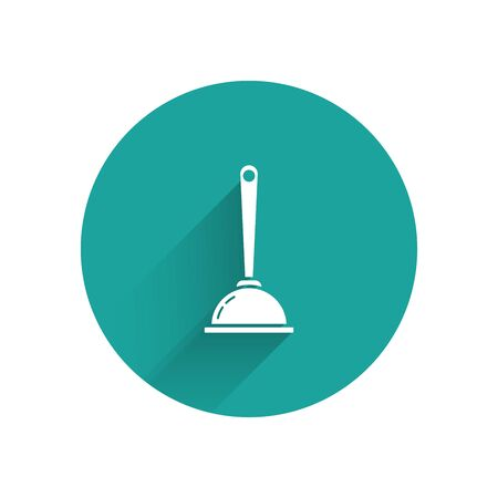 White Rubber plunger with wooden handle for pipe cleaning icon isolated with long shadow. Toilet plunger. Green circle button. Vector Illustration