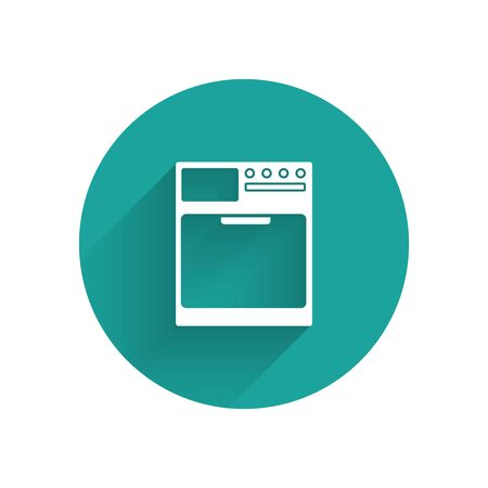White Washer icon isolated with long shadow. Washing machine icon. Clothes washer - laundry machine. Home appliance symbol. Green circle button. Vector Illustration Illustration