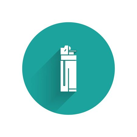 White Lighter icon isolated with long shadow. Green circle button. Vector Illustration