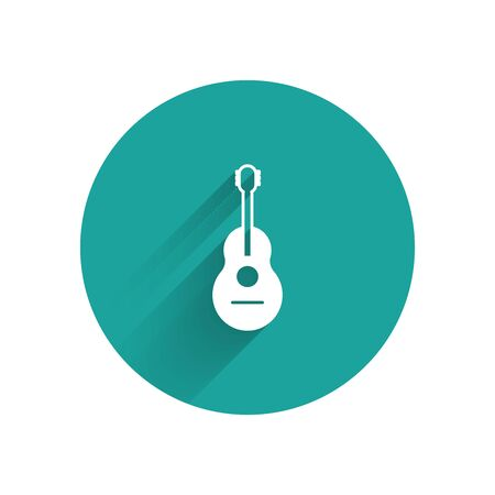 White Guitar icon isolated with long shadow. Acoustic guitar. String musical instrument. Green circle button. Vector Illustration