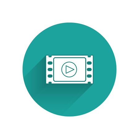 White Play Video icon isolated with long shadow. Film strip with play sign. Green circle button. Vector Illustration