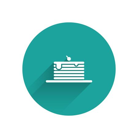 White Stack of pancakes icon isolated with long shadow. Baking with syrup and cherry. Breakfast concept. Green circle button. Vector Illustration Illustration