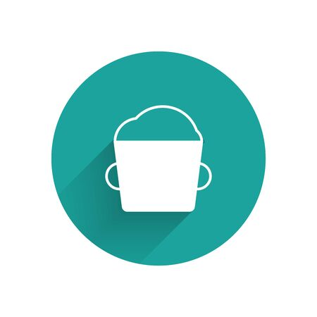 White Bakery bowl dough icon isolated with long shadow. Green circle button. Vector Illustration