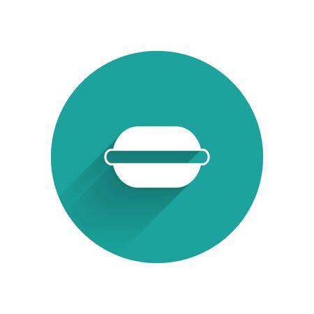 White Macaron cookie icon isolated with long shadow. Macaroon sweet bakery. Green circle button. Vector Illustration Illusztráció