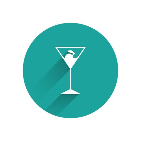 White Martini glass icon isolated with long shadow. Cocktail icon. Wine glass icon. Green circle button. Vector Illustration
