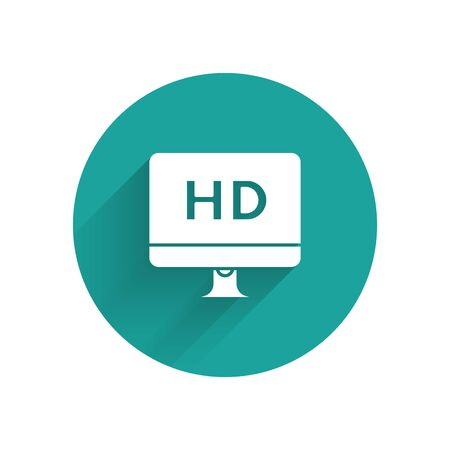 White Computer PC monitor display with HD video technology icon isolated with long shadow. Green circle button. Vector Illustration