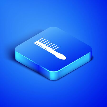 Isometric Hairbrush icon isolated on blue background. Comb hair sign. Barber symbol. Blue square button. Vector Illustration