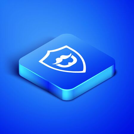 Isometric Mustache and beard on shield icon isolated on blue background. Barbershop symbol. Facial hair style. Blue square button. Vector Illustration