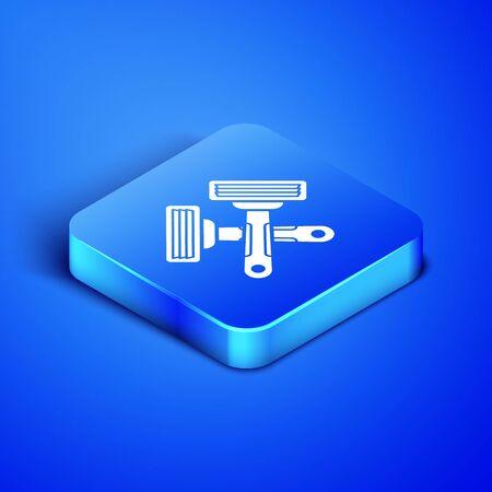 Isometric Crossed shaving razor icon isolated on blue background. Blue square button. Vector Illustration