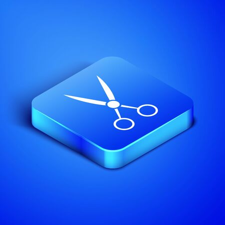 Isometric Scissors hairdresser icon isolated on blue background. Hairdresser, fashion salon and barber sign. Barbershop symbol. Blue square button. Vector Illustration