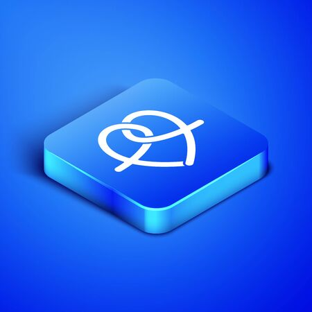 Isometric Pretzel icon isolated on blue background. German comfort food pastry. Oktoberfest festival. Blue square button. Vector Illustration