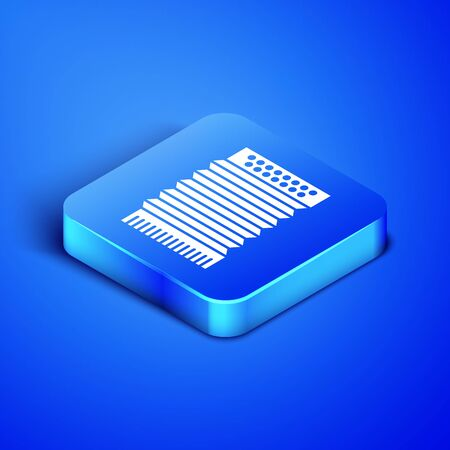 Isometric Musical instrument accordion icon isolated on blue background. Classical bayan, harmonic. Blue square button. Vector Illustration