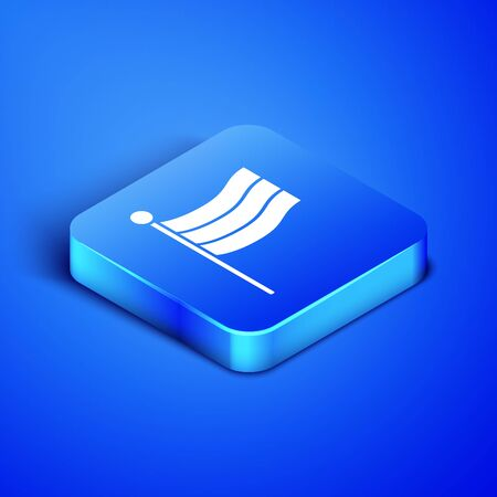 Isometric National Germany flag icon isolated on blue background. Blue square button. Vector Illustration
