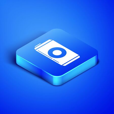 Isometric Beer can icon isolated on blue background. Blue square button. Vector Illustration