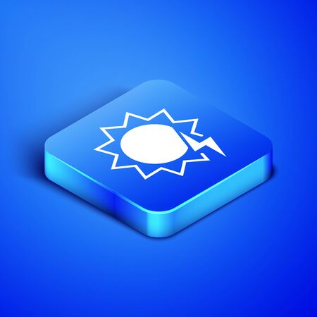 Isometric Solar energy panel icon isolated on blue background. Sun with lightning symbol. Blue square button. Vector Illustration  イラスト・ベクター素材