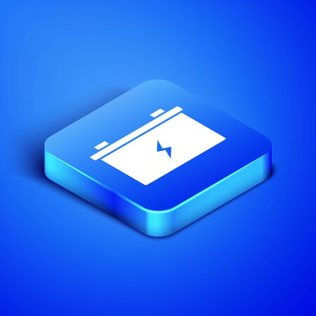 Isometric Car battery icon isolated on blue background. Accumulator battery energy power and electricity accumulator battery. Blue square button. Vector Illustration Banque d'images - 131091231