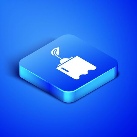 Isometric Sprout in bottle icon isolated on blue background. Seed and seedling. Leaves sign. Leaf nature. Blue square button. Vector Illustration