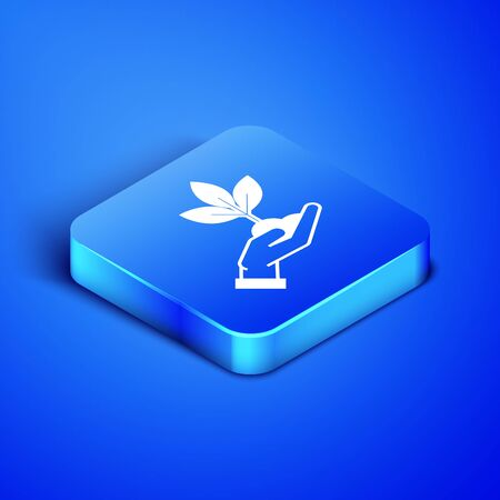 Isometric Plant in hand of environmental protection icon isolated on blue background. Seed and seedling. Planting sapling. Ecology concept. Blue square button. Vector Illustration Çizim
